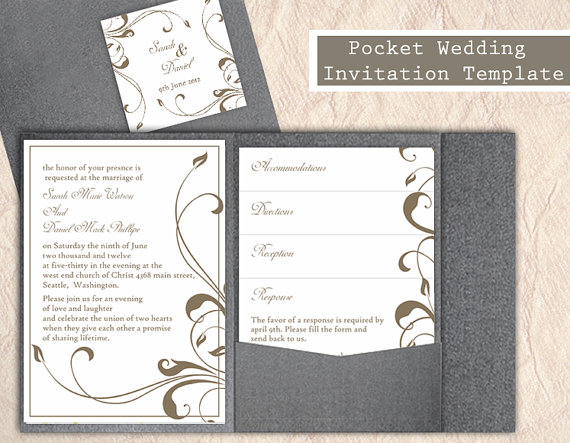 pocket wedding invitation template set diy editable text word file