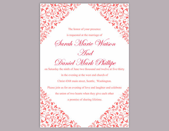 Mariage - DIY Wedding Invitation Template Editable Word File Instant Download Printable Invitation Red Invitation Elegant Invitation Flower invitation
