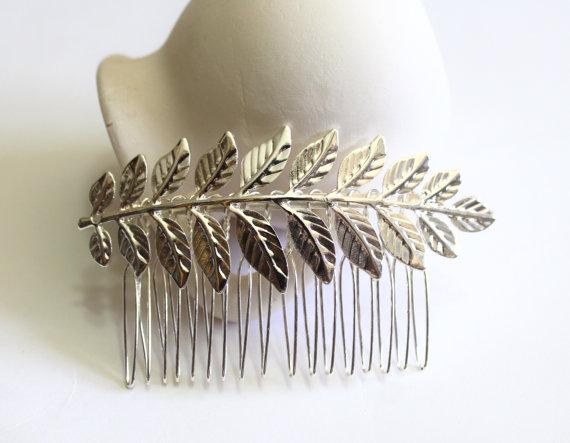 Свадьба - Silver Leaf Hair Comb. Bridal Hair Comb, Leaf Headpiece, Wedding Hair Accessory, Woodland Hair Accessory, Silver Leaf Hair Comb