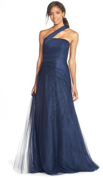 0114bd190d6 Monique Lhuillier Bridesmaids Monique Lhuillier Bridesmaids One-Shoulder Drape  Tulle Gown
