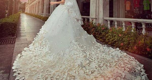 Wedding - 30 Days Redesigned For You Wedding Dress For Bride 1000 Pieces Hand Made Flower Petal Australia Crystal The Tail Length 260 Cm #2162423