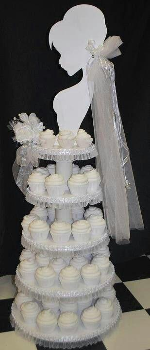 Hochzeit - Bride 5 Tier Cupcake Dessert Stand; Pink/silver Veil And Bouquet (changeable)