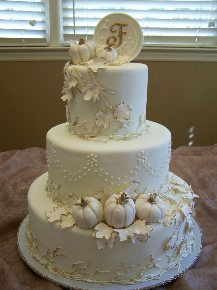 Image Of Autumn Wedding Cakes With Pumpkins