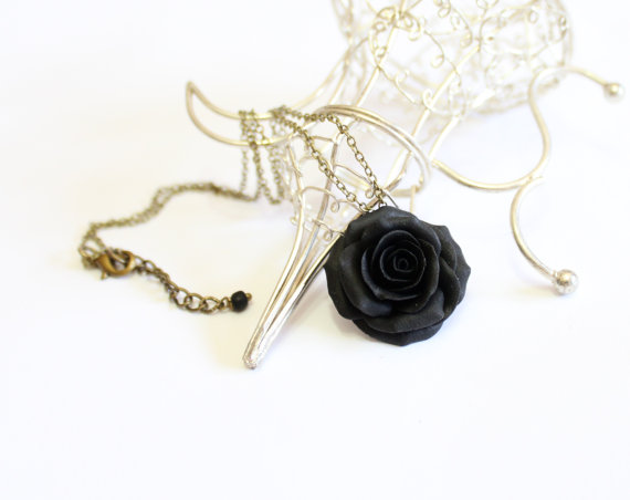 Necklace black rose pendant rose charm bridesmaid necklace necklace black rose pendant rose charm bridesmaid necklace flower girl jewelry black rose bridesmaid jewelry black wedding jewelry aloadofball Choice Image