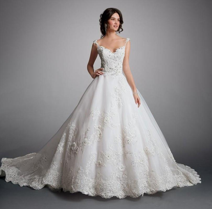 New Arrival A Line Lace Wedding Dress 2015 Applique Flower Bridal ...
