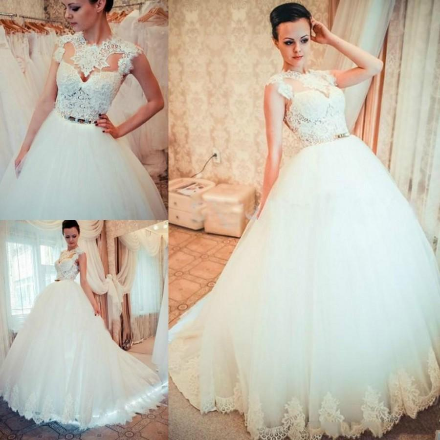 Exquisite lace wedding dresses 2015 sash crew neck a line for Crew neck wedding dress