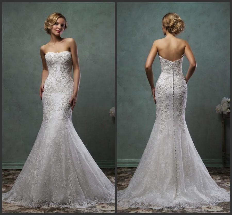 Wedding - Exquisite 2016 Amelia Sposa Lace Trumpet Wedding Dresses Strapless Spring Mermaid Applique Bridal Gowns Dress Sweep Train Zip Back Cheap Online with $123.72/Piece on Hjklp88's Store