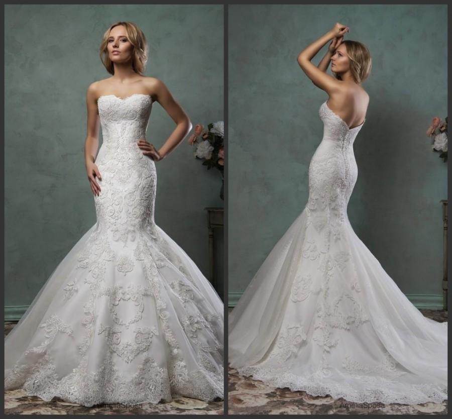 Elegant 2016 mermaid amelia sposa wedding dresses trumpet for Trumpet wedding dresses with lace
