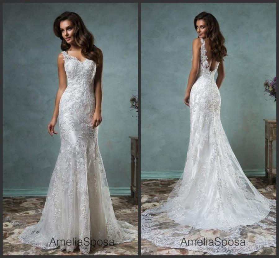 Wedding - Stunning Amelia Sposa Spring Wedding Dresses Garden 2016 Sequins Mermaid Applique Sheer Lace Bridal Gowns Dress Sweep Train Custom Made Online with $126.39/Piece on Hjklp88's Store