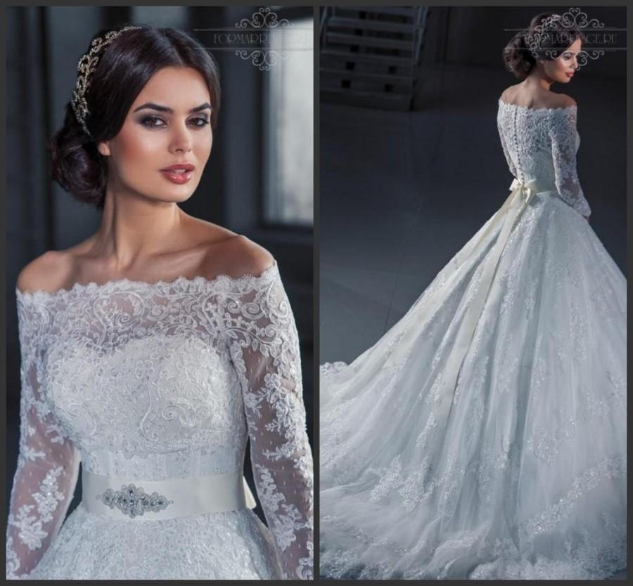 Vintage 2016 wedding dresses with wrap lace sash sequins for Long sleeve sequin wedding dress