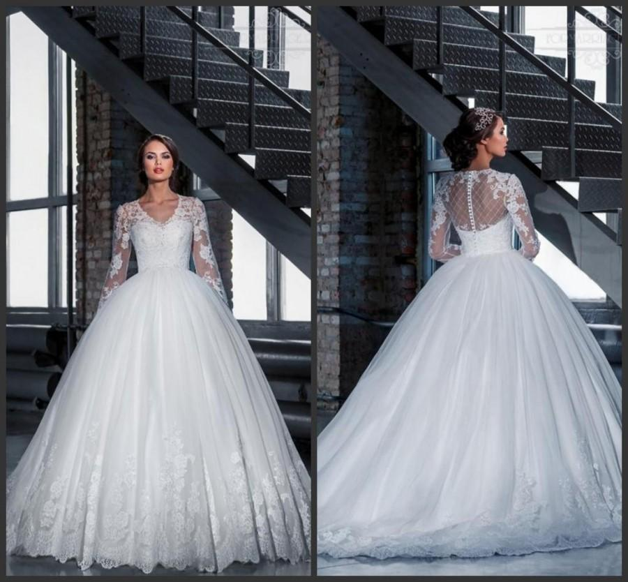 Wedding - Charming Long Sleeve A-Line Wedding Dresses 2016 Illusion Back Lace Tulle Sheer V-Neck Applique Chapel Train Bridal Ball Gowns Custom Made Online with $136.18/Piece on Hjklp88's Store