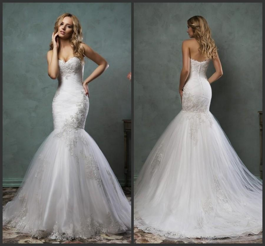 New arrival mermaid white 2016 amelia sposa lace wedding for Lace white wedding dress
