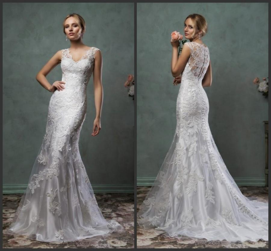 Stunning Mermaid Spring 2016 Amelia Sposa Lace Trumpet Wedding Dresses V Neck Applique Bridal
