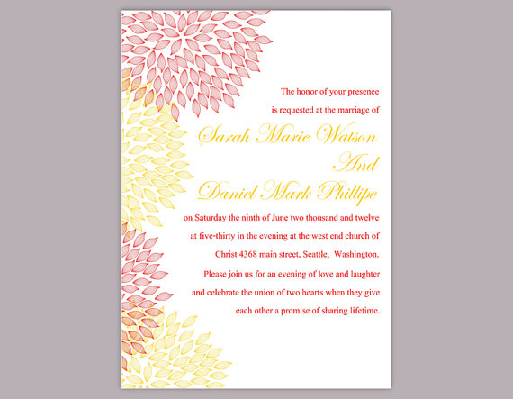 Wedding - DIY Wedding Invitation Template Editable Word File Instant Download Printable Colorful Flower Invitation Pink Invitation Yellow Invitations