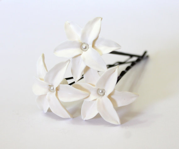 Wedding - White Lily Hair Flower, White Lily with Pearl, Bridal Lily Hair Clip, Wedding Lily Hair Pins, Bridal Hair Flowers, Bridesmaid Jewelry Set of