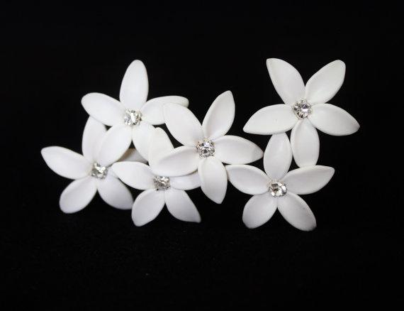 Wedding - White Jasmine Flower Accessories Hair pin Set of 6, Jasmine Wedding Hair Accessories, Wedding Hair Flower Hair Small Hair Flowers Set of 6