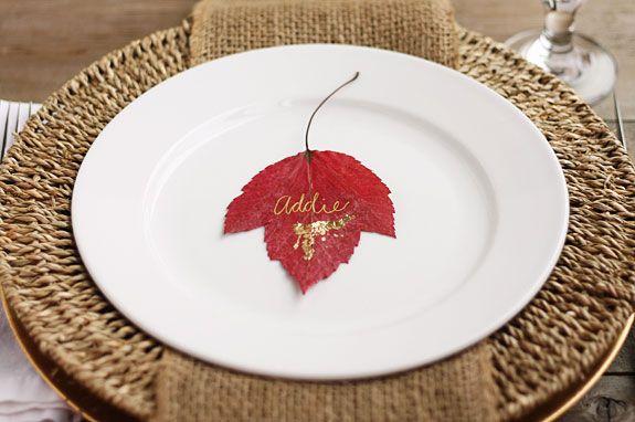 Wedding - Gilded Leaf Place Cards