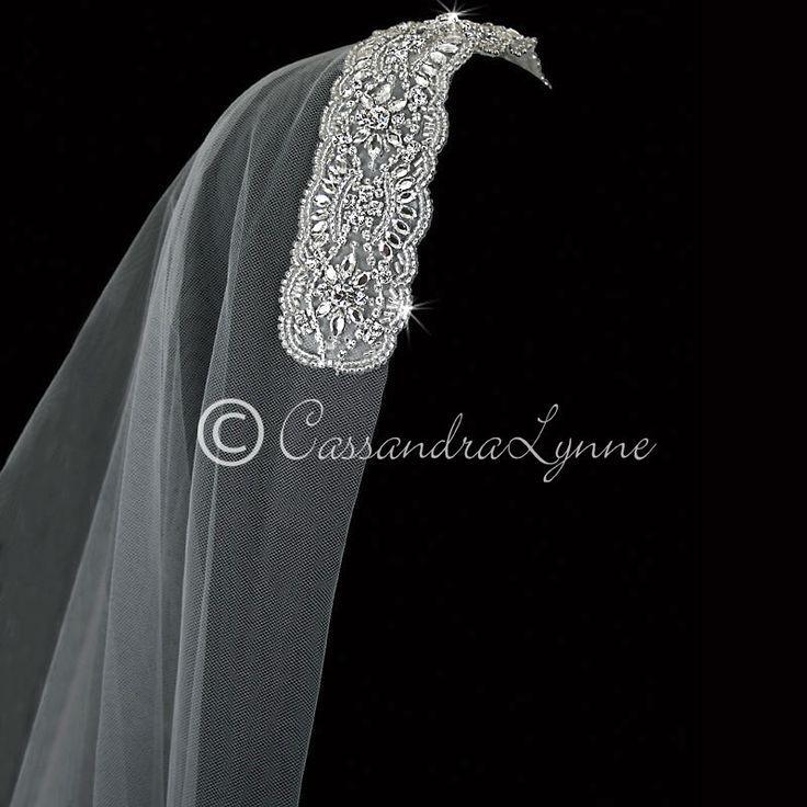 Wedding - Bohemian Two Tier Wedding Veil With Rhinestone Headband