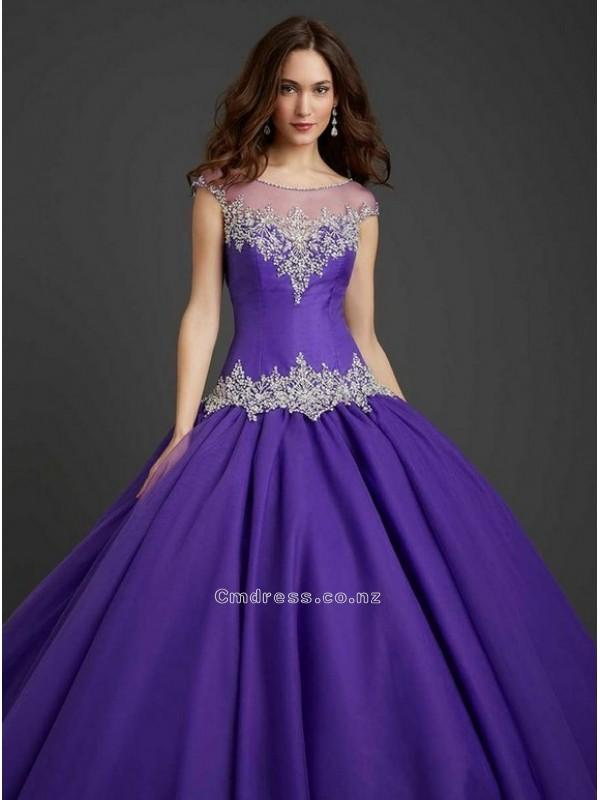 Hochzeit - Regency Ball Gown Scoop Embroidery long Taffeta Beading Quinceanera DressSKU: QD00002-AL