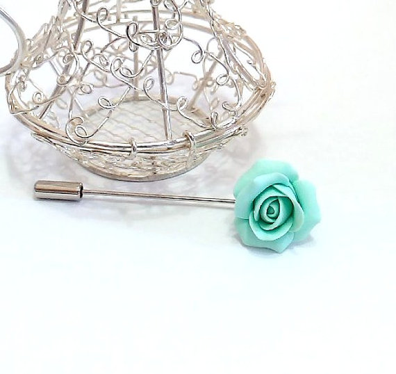 Mariage - Mint Rose Boutonniere, Country Bride loop Forest breastplate, groom boutonniere, Mint Rose Brooch