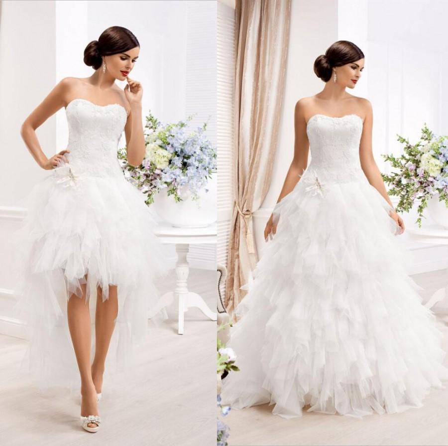 White Wedding Dresses 2015 New Arrival Detachable Sexy Sweetheart A Line Applique Lace Fluffy Tulle Gowns Princess Ball Gown