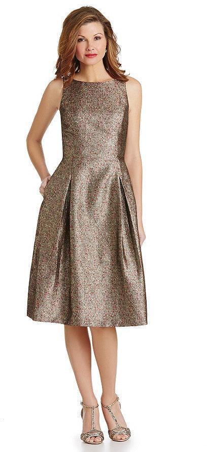 Tahari Asl Metallic Midi Jacquard Fit And Flare Dress