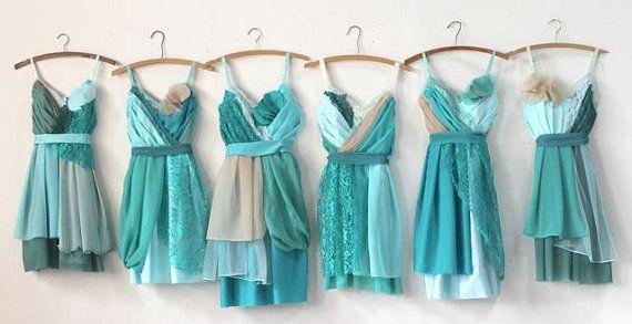 Mariage - Custom Turquoise Aqua & Teal Bridesmaids Dresses