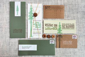Modern Woodsy Mountain Themed Wedding Invitation Suite 2366072