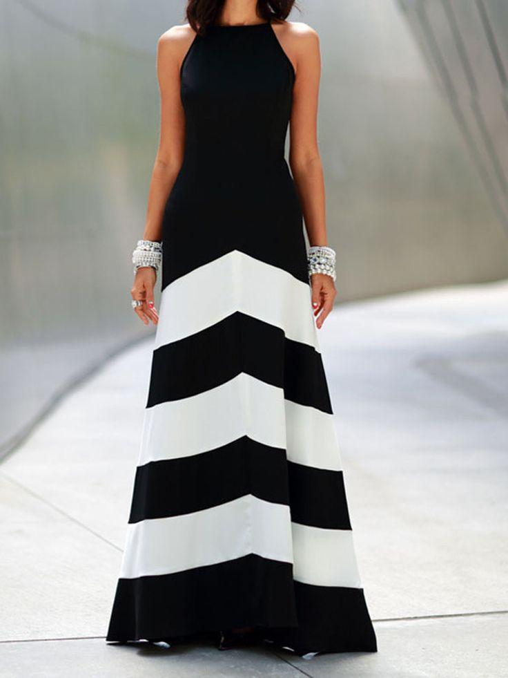 Свадьба - Black Stripe Cross Strap Back Sleeveless Maxi Dress