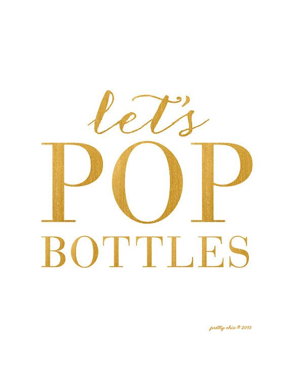 Let's POP Bottles Print - Bar Cart - Happy Hour - Gold Bar Sign - Champagne #2366211 - Weddbook