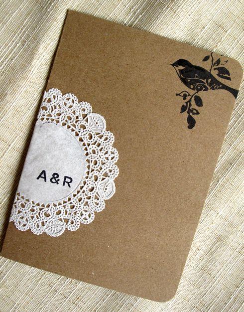 Wedding - Raechel   Alex's Crafty Doily And Kraft Paper Wedding Invitations