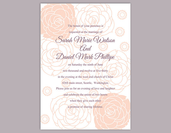 Diy wedding invitation template editable word file instant download printable floral invitation for Diy printable wedding invitations