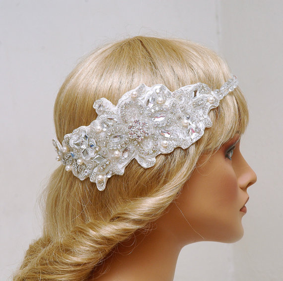 Floral Lace Headpiece For Wedding: Bridal Lace Headband, Wedding Headpiece, Wedding Gown
