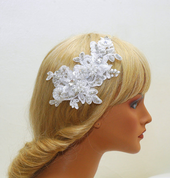Düğün - Crystal Bridal Headband, Wedding Lace Headpiece, Wedding Dress, Pearl Hair Comb, Wedding Hair Jewelry, Bridal Sash, Wedding Accessories