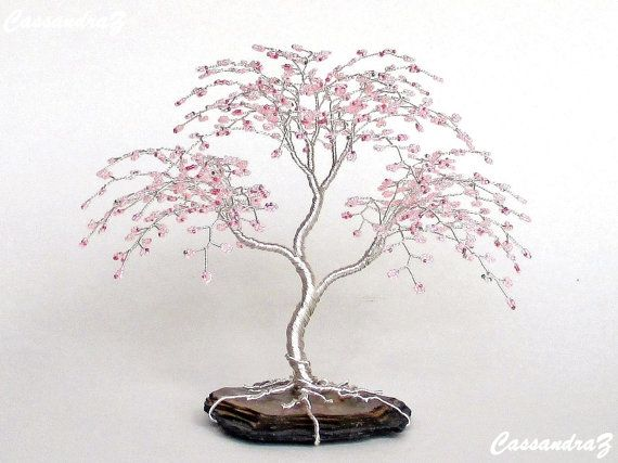 Wedding - Weeping Cherry Blossom Wedding Cake Topper Wire Tree Sculpture Pink - MADE TO ORDER Custom