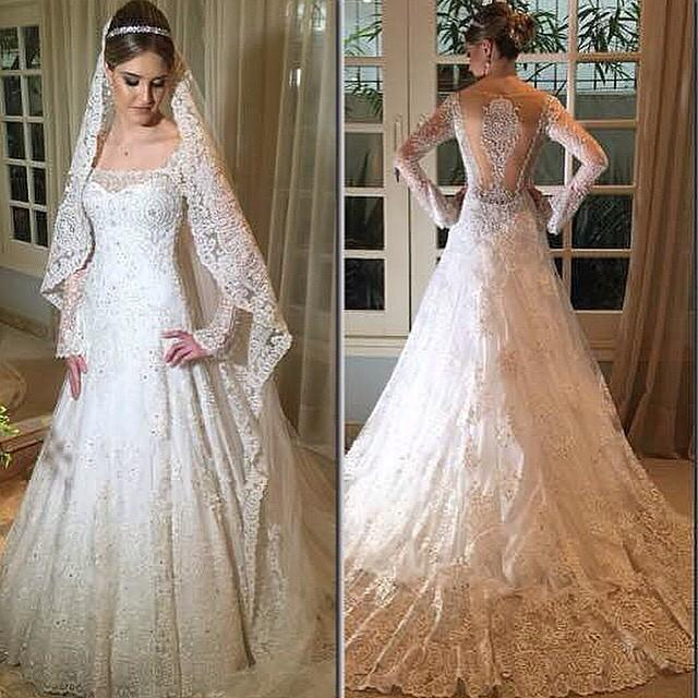 Real Image Long Sleeves Wedding Dresses Sheer 2015 Illusion Winter ...