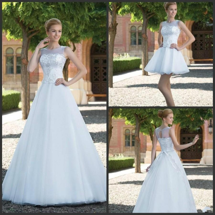Stunning sleeveless wedding dresses sheer jewel neck a line custom stunning sleeveless wedding dresses sheer jewel neck a line custom lace up sweep train bridal gowns ball detachable skirt lace applique online with ombrellifo Choice Image