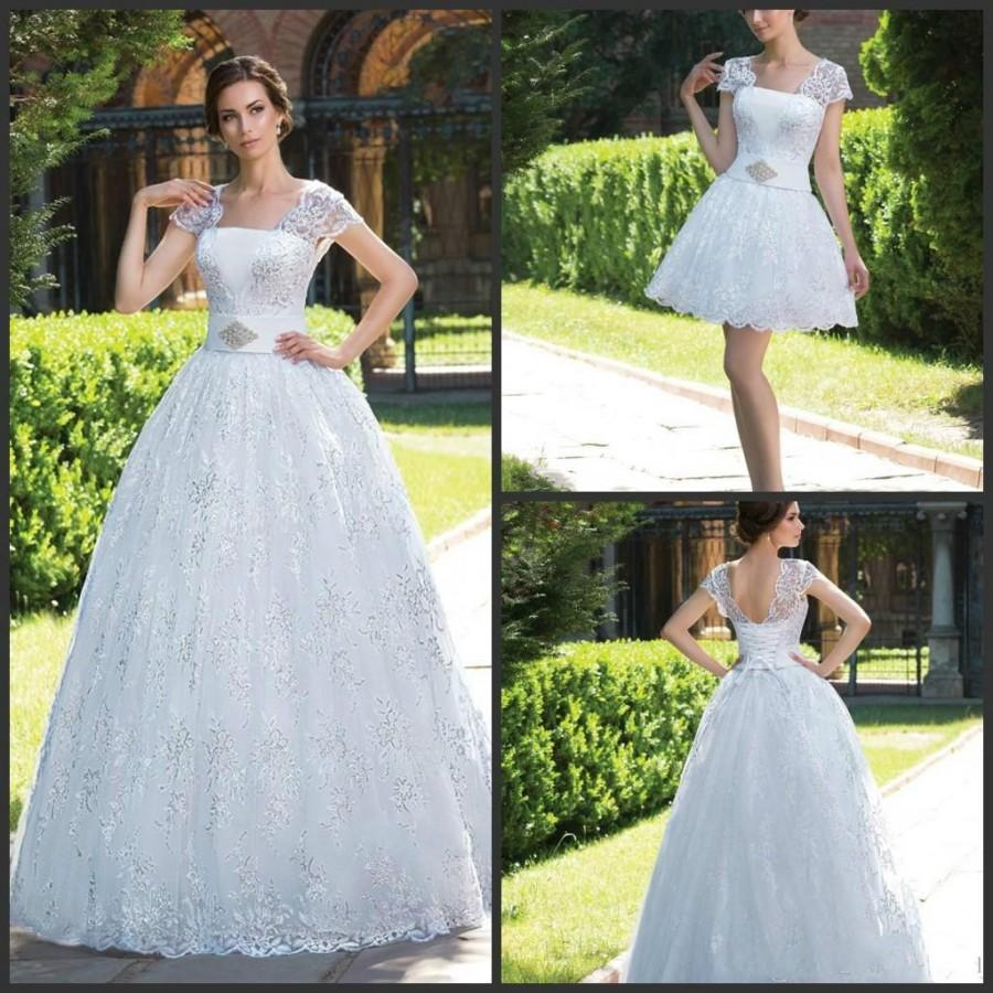 Elegant white lace wedding dresses 2015 capped sleeves lace up elegant white lace wedding dresses 2015 capped sleeves lace up back a line detachable skirt church sweep train custom bridal gowns ball online with ombrellifo Choice Image