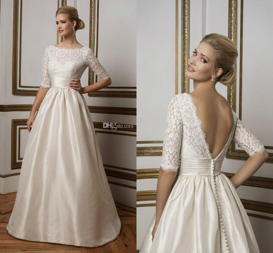 Stunning Half Sleeves Lace Satin Wedding Dresses 2016 Sheer Ivory ...