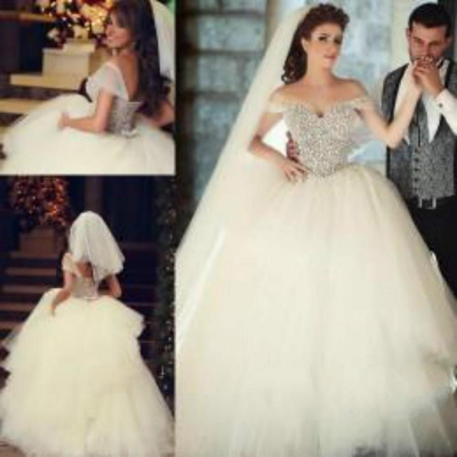 Exquisite 2015 Ball Gown Wedding Dresses With Pearls Corset Off ...