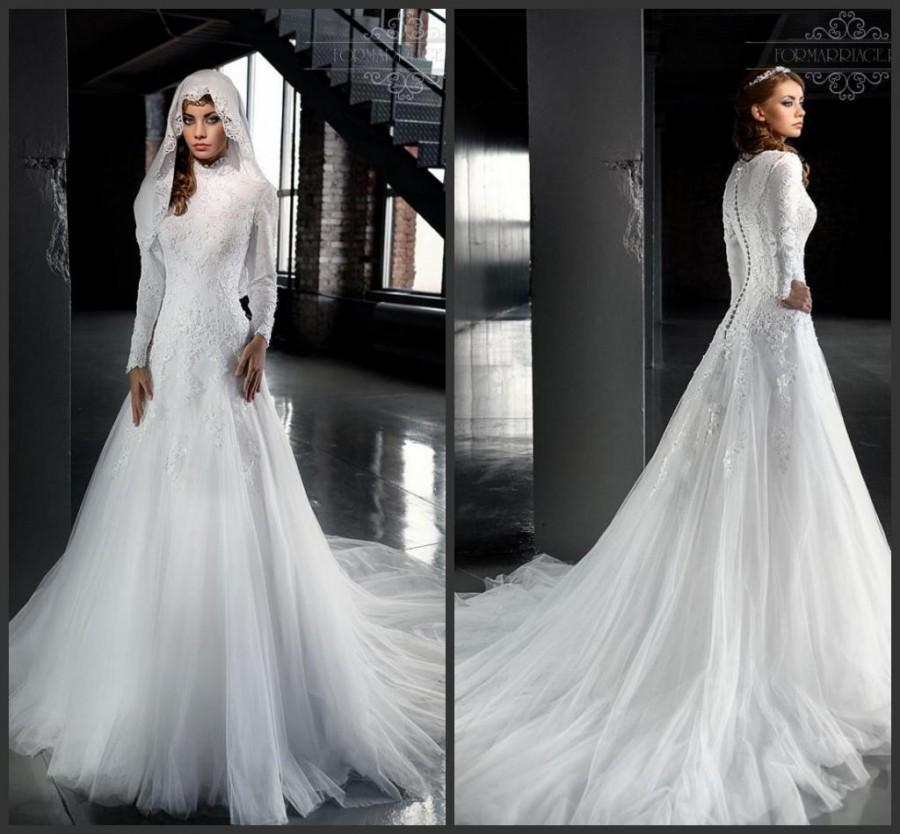 Fashion muslim wedding dresses 2016 with high neck long for Winter style wedding dresses