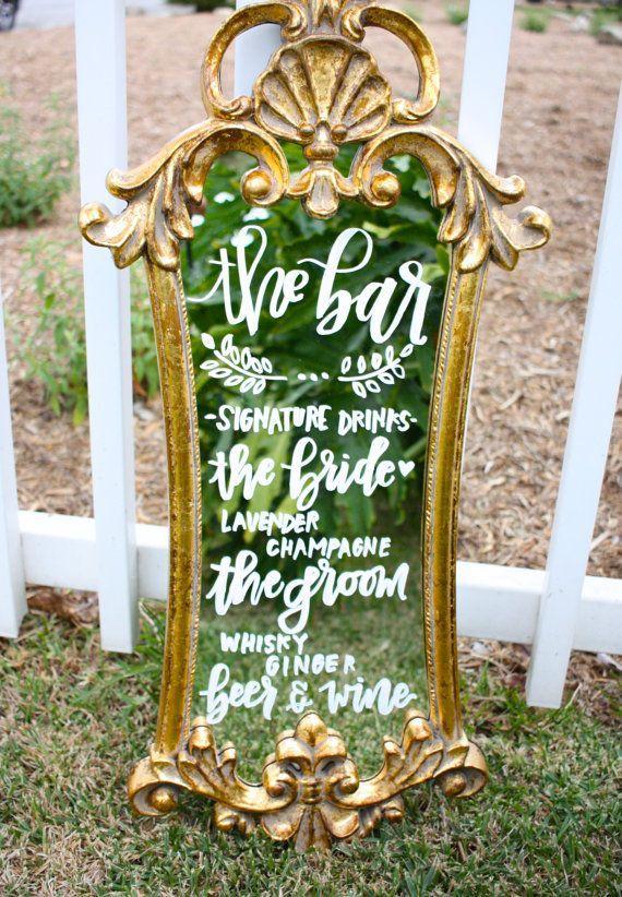 Wedding - Wedding Mirror Menu / Handlettered Mirror / Dessert Menu / Wedding Sign / Gold Mirror / Chalkboard Sign / Vintage Mirror / Gold Ornate