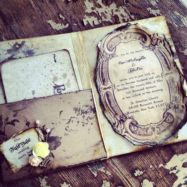 Pocketfold Invitations Fairytale Wedding Invitation Vintage Book