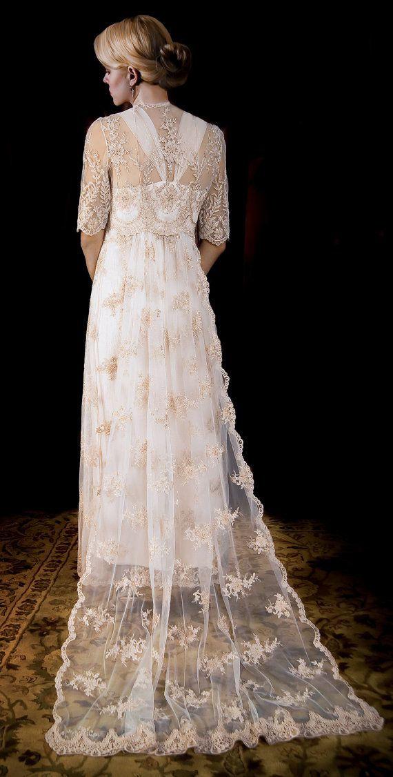 Wedding dress of french alencon lace over double silk for French lace wedding dress
