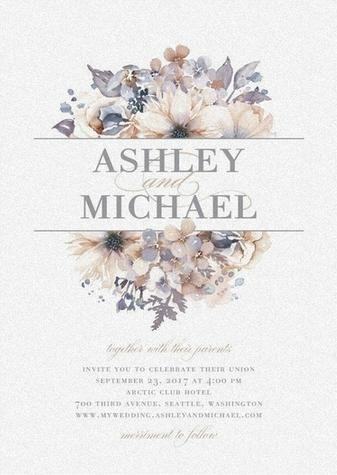 Hochzeit - Watercolor Bouquet - Shimmer Wedding Invitations In Lilac Or Sand