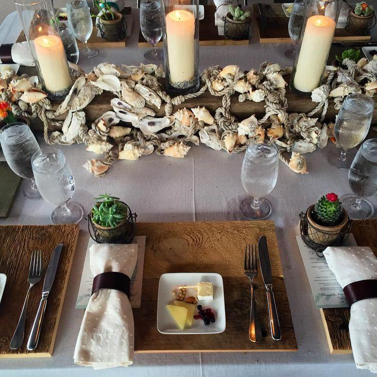 Inside Weddings On Instagram \u201cRustic Seashell Oyster Center Pieces Complete This Chic Beach Table Setting Designed By @KelliCornWed For ! Cool Detail The\u2026 & Inside Weddings On Instagram: \u201cRustic Seashell Oyster Center Pieces ...