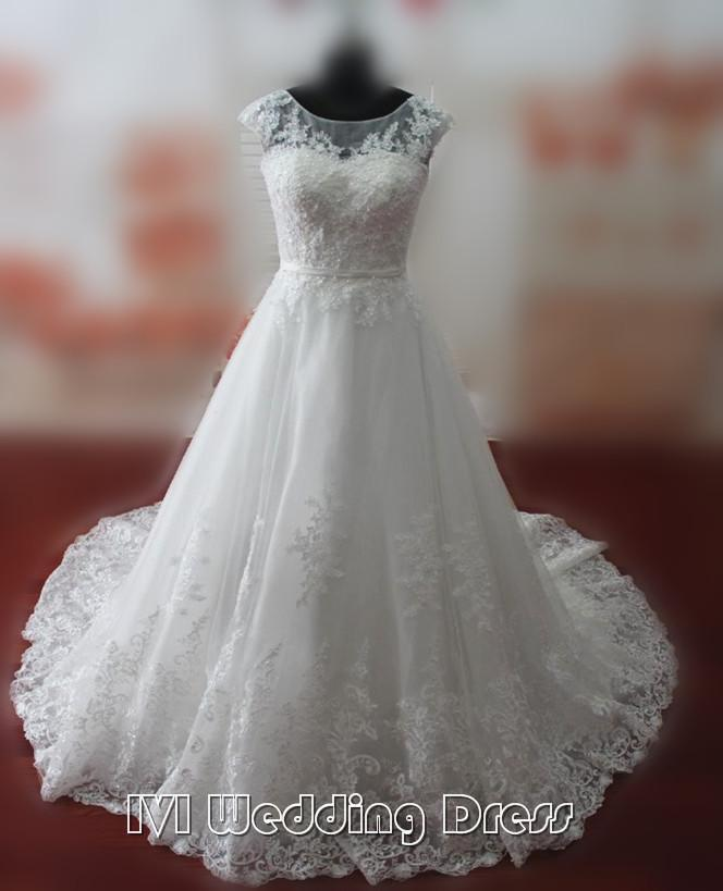 Wedding - Real Samples Sheer Jewel Neckline Wedding Dresses with Pearls Lace-up Chapel Train Lace Bridal Gowns Custom Made Wedding Gowns