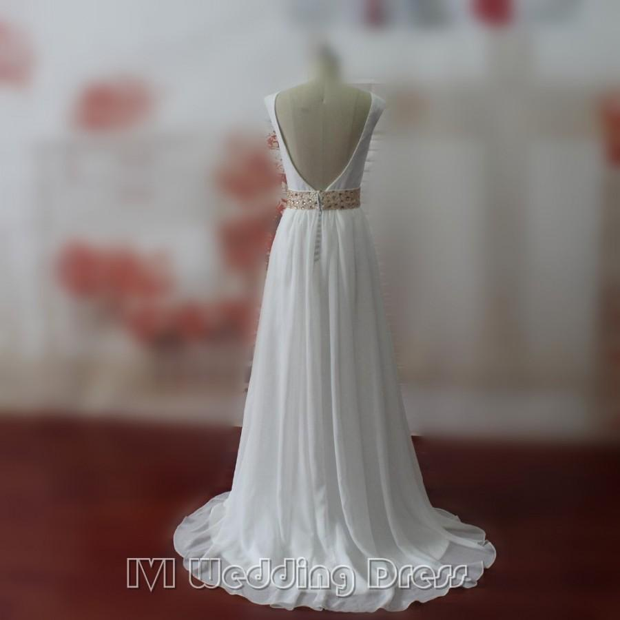 Wedding - Real Samples Boho Wedding Dresses with Pearls Beach Wedding Gowns Sweep Train Bridal Gowns Plus Size Bridal Dress