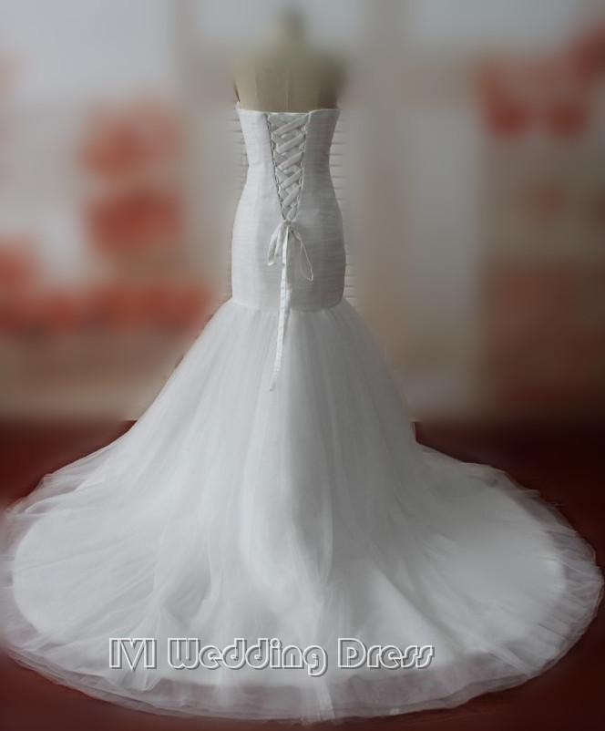 Real Samples Mermaid Wedding Dresses Strapless Wedding Gowns Chapel ...