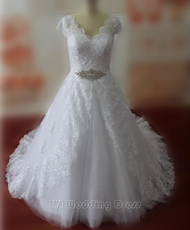 Real Samples Plus Size Y V Neck Wedding Dresses Cap Sleeves Gowns Lace Bridal Custom Made Dress